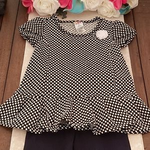 EUC polka dot peplum top leggings 3T black white
